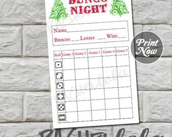 Bunco score card, Christmas, instant download