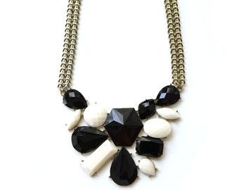 black white statement necklace, bib necklace
