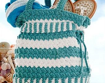 CROCHET PATTERN PURSE Cotton Tote Handbag Seaspray Summer Handbag