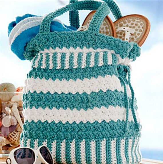 Crochet Patterns For Beach Bag : CROCHET PATTERN PURSE Cotton Tote Handbag Seaspray Summer