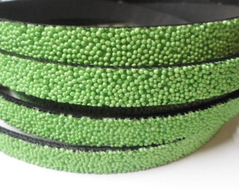 "SALE: 8""  10mm Flat Cord, Apple Green Caviar Sparkle Synthetic Leather,"