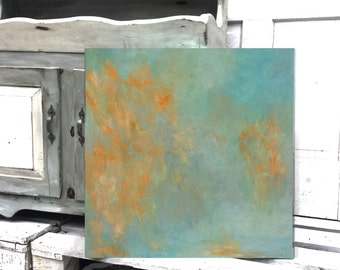 ORIGINAL ABSTRACT PAINTING orange on top of a soft  blue background .