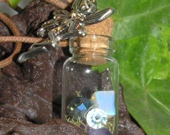 Faerie Wish Bottle Necklace/Fairy necklace/Gemstones/Lichen/Fairy Charm