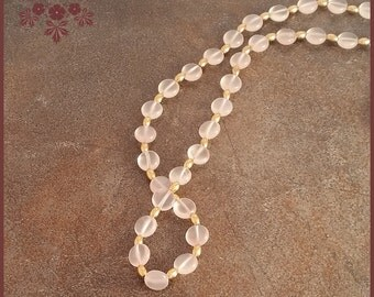 Pink Chalcedony & GoldPlated Bead Necklace, Free Shipping