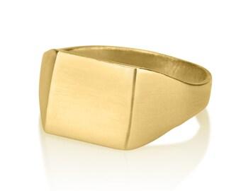 Stamp Ring,14K Gold, gold stamp ring, Retro ring, Handmade Ring, Matte finish, Nostalgic Ring