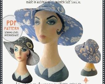 Georgia Sun Hat, PDF sewing pattern & instruction guidebook – Size Women's S.M.L.XL  Instant Download