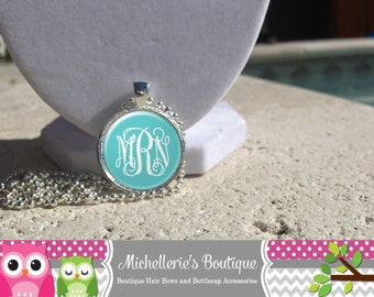 Aqua Blue Monogram Pendant  Necklace, Monogram Jewelry, Monogram Accessories, Bridesmaid Gifts, Gifts for Her, Gifts under 10