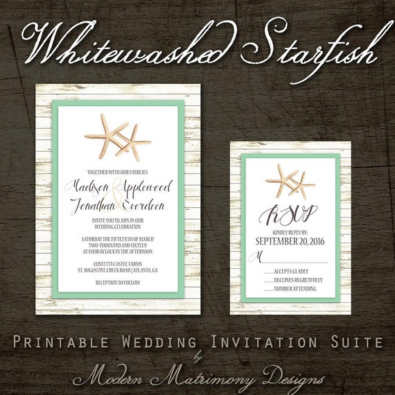 Whitewashed Starfish Printable Beach Wedding Invitation Mix and Match Suite