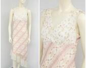 Vintage 90s Romantic Sheer Crepe White Floral Midi Dress, Pastel Asymmetrical Dress, Ruffle Dress, Sleeveless Summer Dress Size L