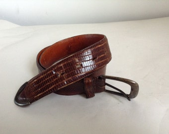Brown Lizard Leather Ralph Lauren Belt size 32