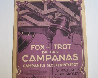 antique score colour lithograph, fox - trot de las campanas