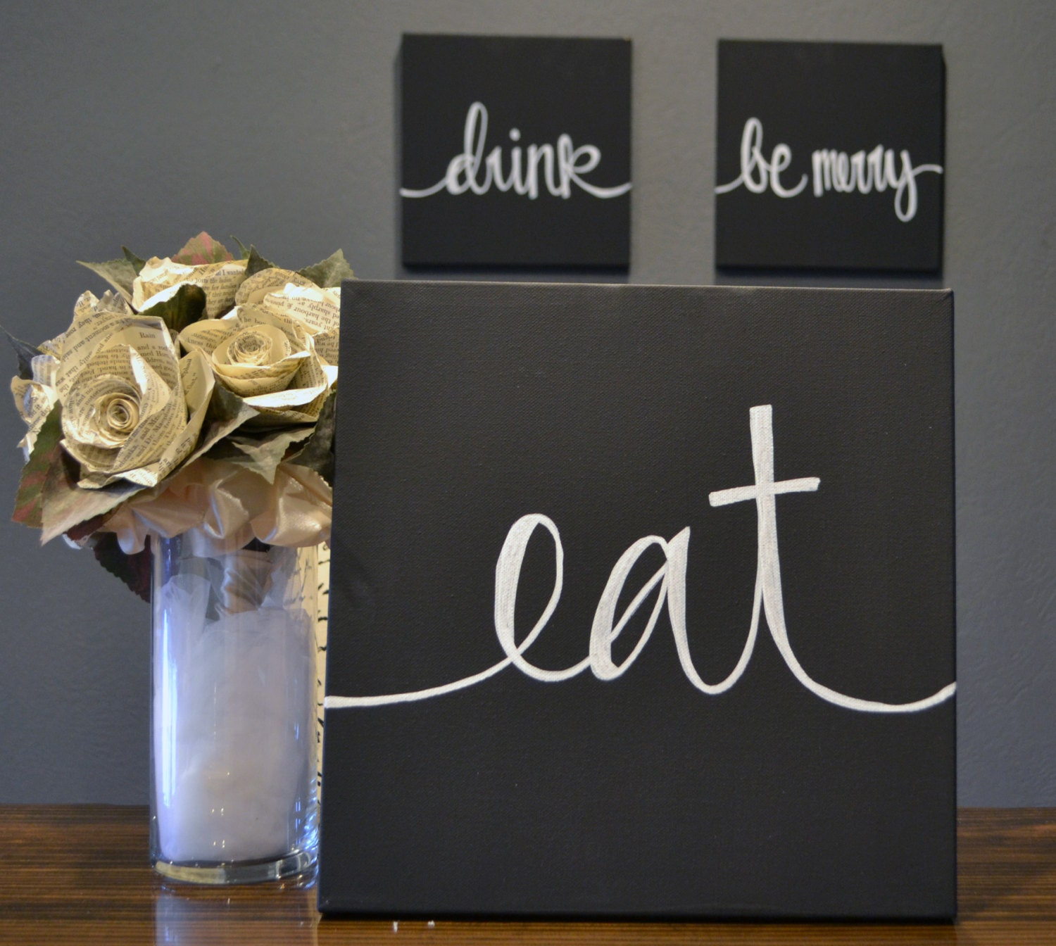 Eat Wall Art eat drink & be merry canvas wall art paintings black and white