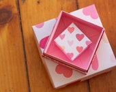 Set of 3 Square Valentine Origami Gift Boxes
