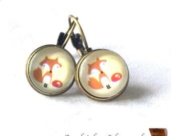 earrings fox red brown yellow