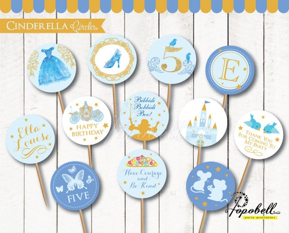 Cinderella Cupcake Toppers For Cinderella Birthday Party