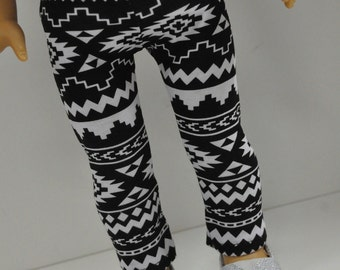 18 Inch Doll Clothes    Black and White Aztec Tribal Print Leggings    Doll Clothes made to fit dolls such as American Girl