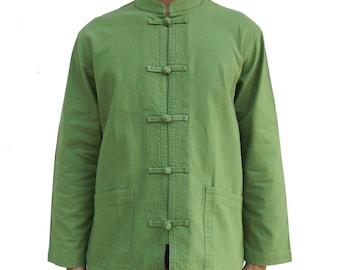 Men's Long Sleeve Kung Fu Tai Chi Cotton Shirt Olive Green