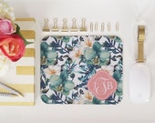 Mouse Pad - Floral Watercolour Monogram Custom Personalized