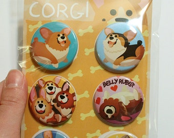 Corgi Buttons, cute corgi pins, corgi lover gift, pinback buttons, pembroke welsh corgi, dog lovers, corgi gift, corgi art, thorgi