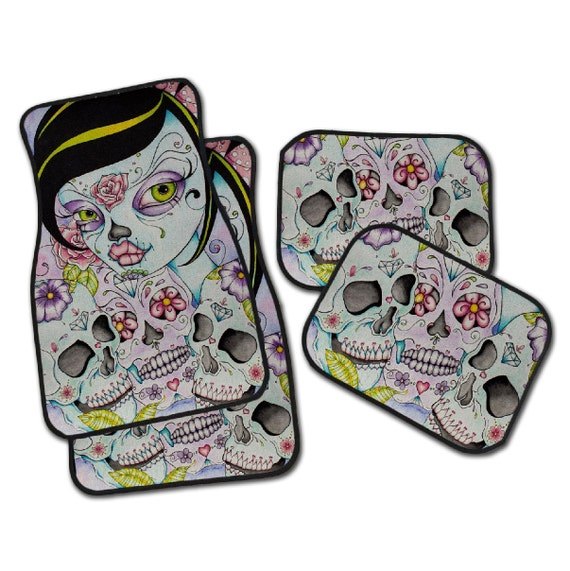 Sugar Skull Car Mats, Beautiful Artwork by Concetta of Enchanted Design Studio, Your choice 								<a href=