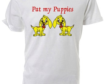 Pat My Puppies Cartoon Dogs T shirt choice of sizes and colours