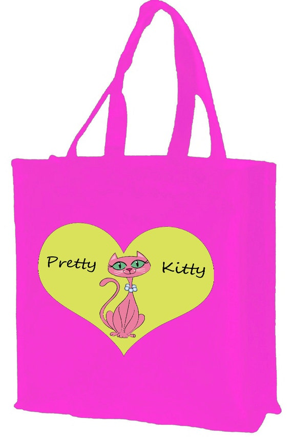 Pretty Kitty Cartoon Cat Cotton Shopping Bag with gusset and long handles, 3 colour options