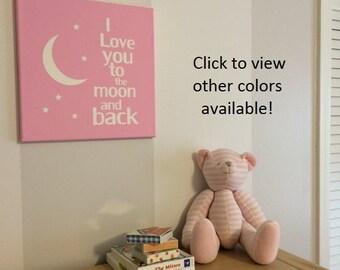 I Love you to the moon and back canvas nursery wall art decor baby girl nursery decor nursery decor nursery subway art baby christmas gift