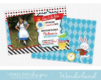 Wonderland - Photo Birthday Invitation - Alice Wonderland