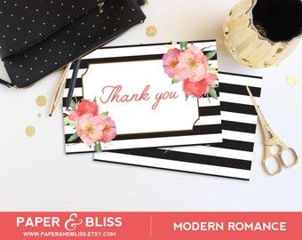 PRINTABLE Modern Romance - Foldable Thank You Cards