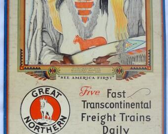 Great Northern Railroad Metal Calendar Sign; Chief Short Man; Blackfeet Warrior; Glacier National Park; September 1928; Free Shipping USA