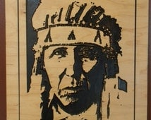 Handmade Wood Carving  A Proud Cheyenne Indian Warrior -  Native American Indian Art / Wall Hanging with beadwork