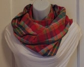 FIP13 14: Fabric Infinity Puffy Scarf (Red Plaid, Flannel) FREE SHIPPING