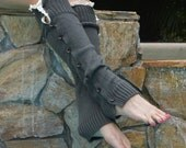 Charcoal Gray Country Lace Leg warmers Boot socks boot cuffs leg warmer sweater knit Winter Warm Unisex Women