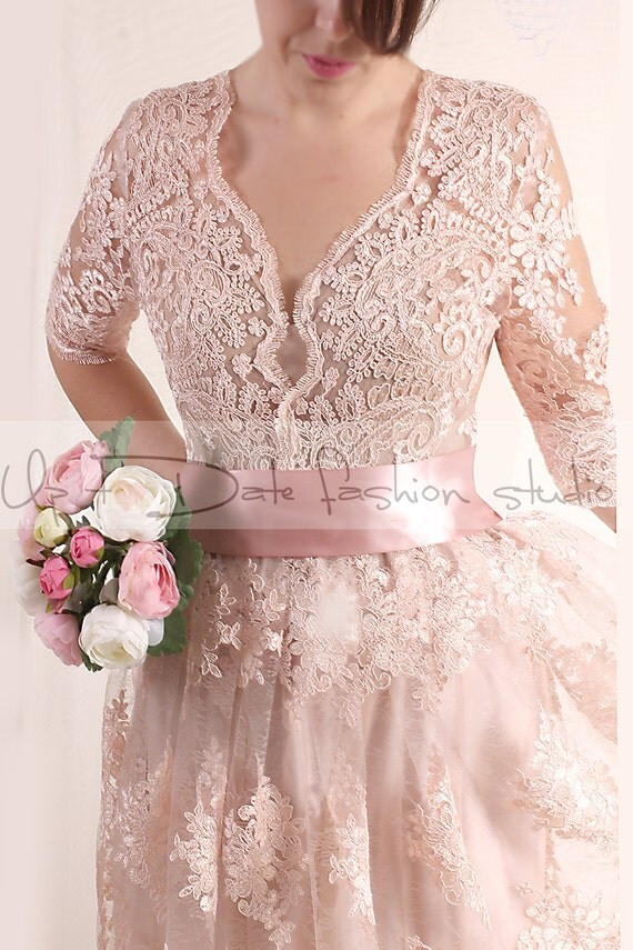 Lace dress bridesmaid plus size