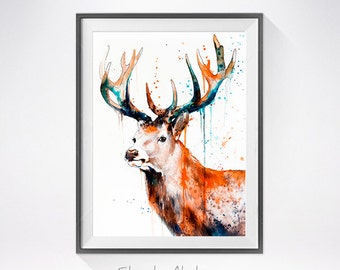 Deer watercolor painting print, Deer art, STAGS watercolor, STAGS art, watercolor, animal illustration, Deer illustration, watercolor print