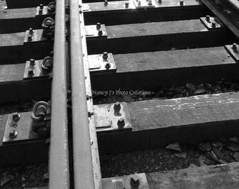 Railroad Tracks ~ Black and White Photography ~ Train Art ~  Gray Wall Art, Industrial, Linear Patterns, Home Office Decor, Fine Art Print