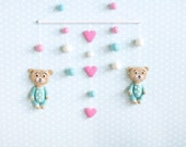 Baby Mobile Sleepy Teddy Bear in Pajamas - Crib Mobile - Animal Mobile - Wall Hanging