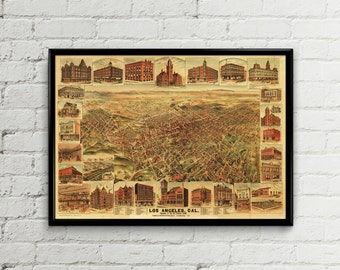 Los Angeles map. Los Angeles print. Los Angeles art. Antique US map Los Angeles panoramic map Antique vintage old Los Angeles map California
