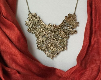 Large crochet style big necklace, statement piece in antique gold
