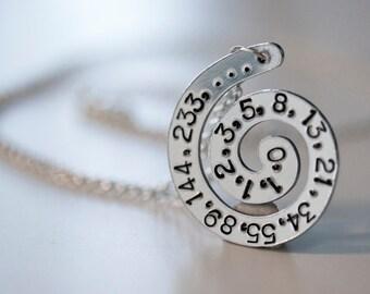 Fibonacci Spiral Necklace, Metal-Stamped Pendant, Fibonacci Jewelry, Math Jewelry, Spiral Necklace