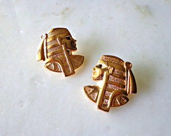 Gold Pharaoh Stud Earrings, Egyptian Jewelry, African Earrings, Ancient Jewelry