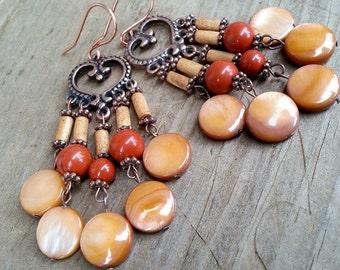 Red Orange Bohemian Chandelier Earrings, Boho Copper Heart Earrings, Wood Bead Red Glass Burnt Orange Earrings, Tangerine MOP Shell Earrings