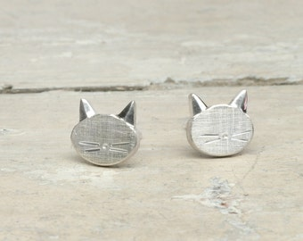 stud cat earrings MIAUUU 925 Sterlingsilver cute kitten animal studs