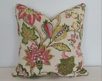 Pink Flower on Cream Linen Pillow Cover