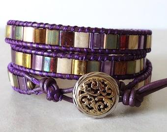 Tila 3 wrap bracelet/ Purple boho leather triple beaded wrapped/bohemian ladder yoga mosaic bracelet