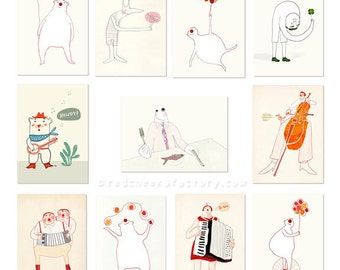 Set of 11 whimsical postcards - party greeting cards - happy postcard set - bear and music postcards- whimsical postcards - good luck card