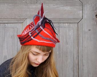 Unique felted hat, red hat with fancy tip and little dreadlocks, designers Avant Garde hat, OOAK