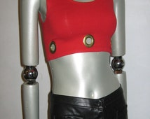 30% Off Sale Vintage Rare Red Sleeveless Double Scoop Neck Cropped Grunge Bra Pullover Tank Top Blouse w/ Large Gold Metal Eyelets