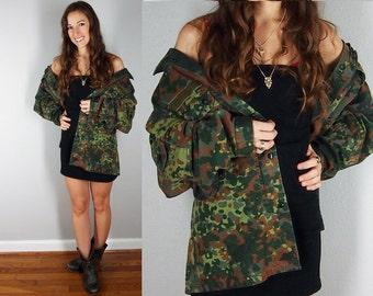 Vintage Military Jacket, Vintage Camouflage German Combat Jacket