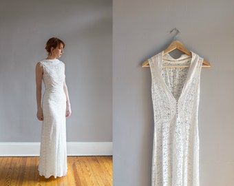1930's Lace Wedding Gown with Bolero / Art Deco / Bias cut / Low back / Size XS
